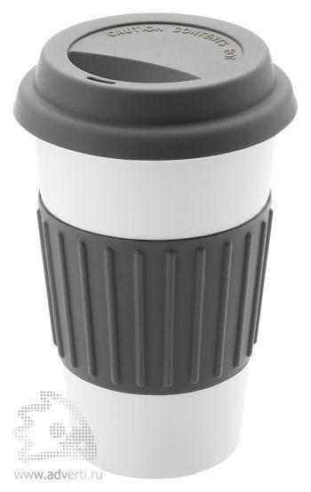 Кружка «Cafe» с силиконовой крышкой и ободком, серый
