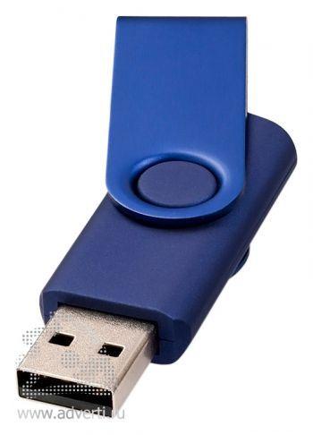 Флеш-карта «Rotate metallic», темно-синяя