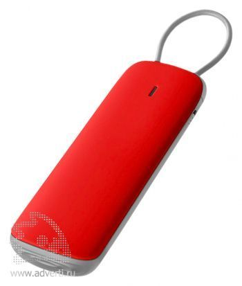 Портативное зарядное устройство «Флэт» 3000 mAh, красное