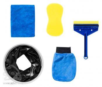 Набор для мойки автомобиля из 6 предметов: ведро, салфетка, губка, рукавица, скребок для мытья окон