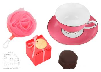 Набор «Цветущая роза»: сумка для шоппинга, чайная пара и суфле в шоколадной глазури