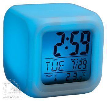 Часы «Куб» с термометром и меняющей цвет подсветкой, голубая подсветка