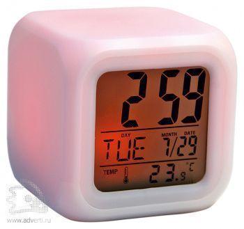 Часы «Куб» с термометром и меняющей цвет подсветкой, красная подсветка
