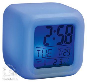 Часы «Куб» с термометром и меняющей цвет подсветкой, синия подсветка