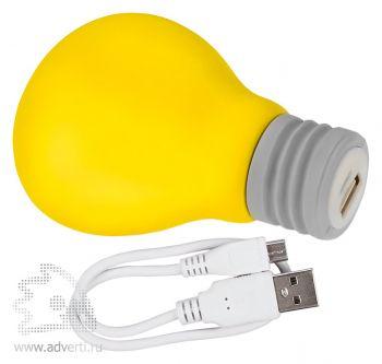 Портативное зарядное устройство «Lamp» 2600 mAh, USB провод в наборе