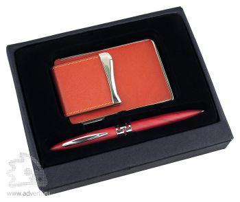 Набор: визитница, ручка «Мехико», красный