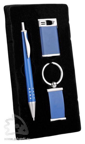 Набор: ручка, брелок, зажигалка «Оревуар», синий