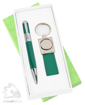 Набор: ручка, брелок «Экрю», зеленый