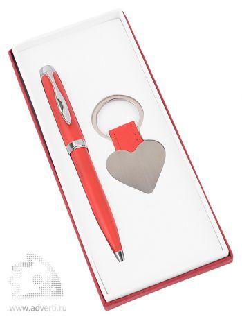 Набор «Сердце»: шариковая ручка, брелок, красный