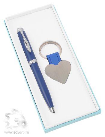 Набор «Сердце»: шариковая ручка, брелок, синий