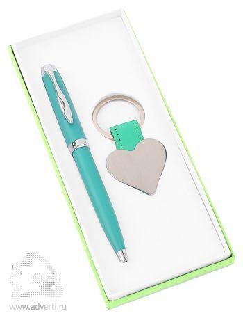 Набор «Сердце»: шариковая ручка, брелок, светло-зеленый