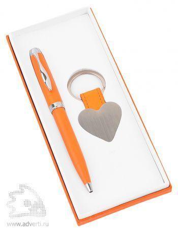 Набор «Сердце»: шариковая ручка, брелок, оранжевый