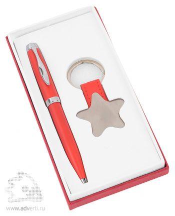 Набор «Звезда»: шариковая ручка, брелок, красный
