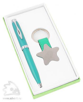 Набор «Звезда»: шариковая ручка, брелок, светло-зеленый