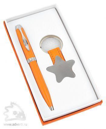 Набор «Звезда»: шариковая ручка, брелок, оранжевый