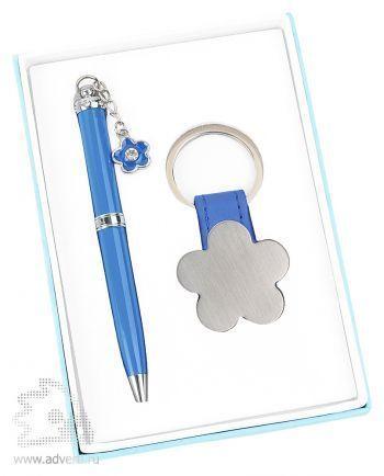 Набор «Цветок»: шариковая ручка, брелок, синий