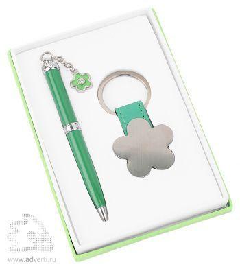 Набор «Цветок»: шариковая ручка, брелок, светло-зеленый