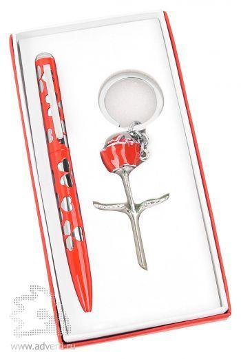 Набор «Роза»: шариковая ручка, брелок