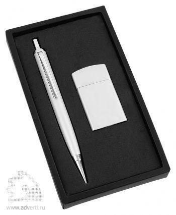 Набор: ручка, зажигалка «Логистик», серебристый