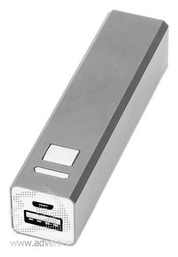Портативное зарядное устройство, 3000 mAh, серебристое
