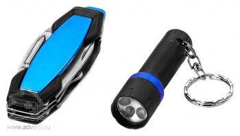 Набор: фонарик, мультиинструмент «Eric», синий