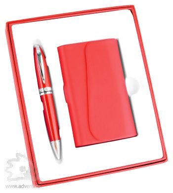 Набор: визитница, ручка «Эстет», красный