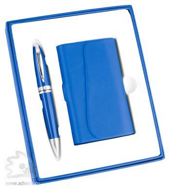 Набор: визитница, ручка «Эстет», синий