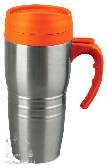 Кружка с термоизоляцией «Рондо», оранжевая