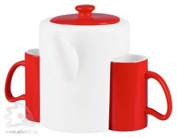 Набор «Триптих»: чайник, 2 чашки, расположение чашек