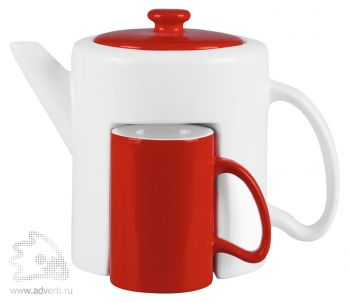 Набор «Триптих»: чайник, 2 чашки, красный