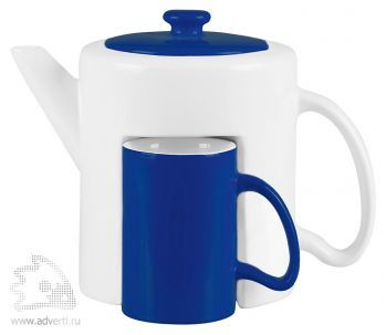 Набор «Триптих»: чайник, 2 чашки, синий