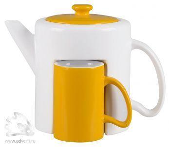 Набор «Триптих»: чайник, 2 чашки, желтый