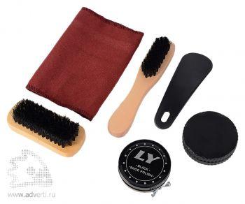 Набор аксессуаров для чистки обуви «Кэрролтон», черный крем, бесцветный крем, 2 щетки, ложка для обуви, салфетка