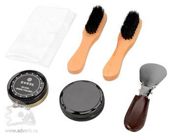 Подарочный набор «Сапфир» для чистки обуви, черный крем, бесцветный крем, 2 губки, 2 щетки, ложка для обуви, салфетка