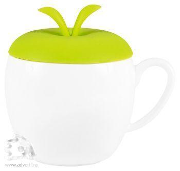 Кружка «Яблочко» с силиконовой крышкой, зеленая