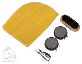 Набор для чистки обуви «Шик», черный крем, бесцветный крем, 1 щетка, ложка для обуви, салфетка