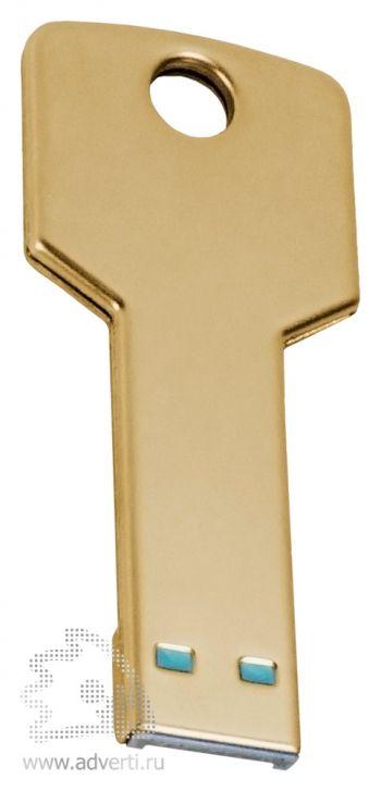 Флеш-память «Ключ», золотистая, обратная сторона