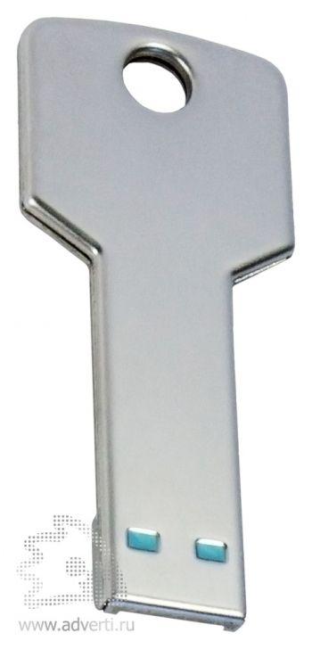 Флеш-память «Ключ», серебристая, обратная сторона