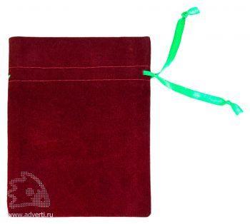 Подарочный мешок, бордовый, общий вид