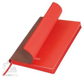 Ежедневник «Latte», коричневый с красным