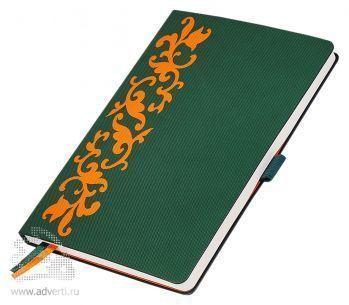 Ежедневники «Русские Узоры», зеленые с оранжевым