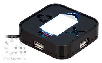 Хаб зеркальный «Зажигай» со светящимся логотипом, оборотная сторона