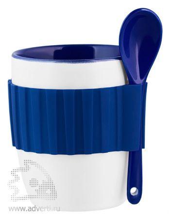 Кружка с силиконовым поясом, синяя
