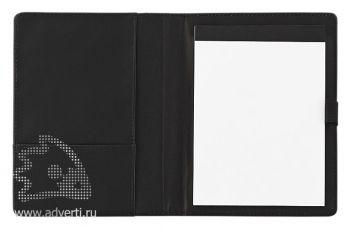 Папка А6 с блокнотом, черная открытая