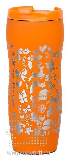 Кружка дорожная с прорезиненным покрытием, оранжевая, пример нанесения