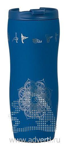 Кружка дорожная с прорезиненным покрытием, синяя, пример нанесения