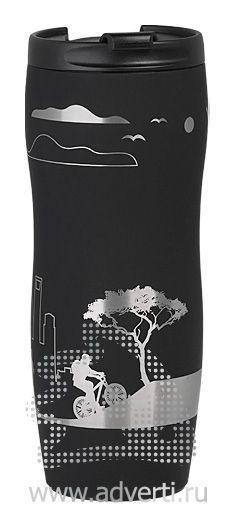 Кружка дорожная с прорезиненным покрытием, черная, пример нанесения