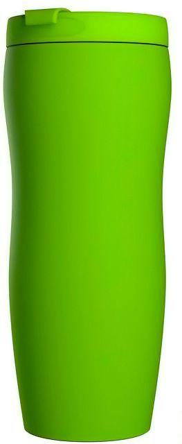 Кружка дорожная с прорезиненным покрытием, светло-зеленая