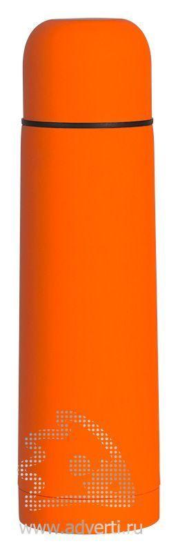 Термос «Крит» с прорезиненным покрытием, оранжевый