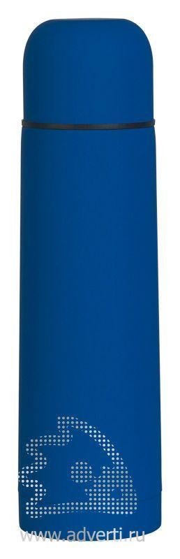 Термос «Крит» с прорезиненным покрытием, синий